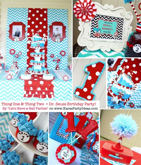 birthday party ideas 1st birthday party ideas kara 39 s party ideas thing one thing two dr seuss 1st