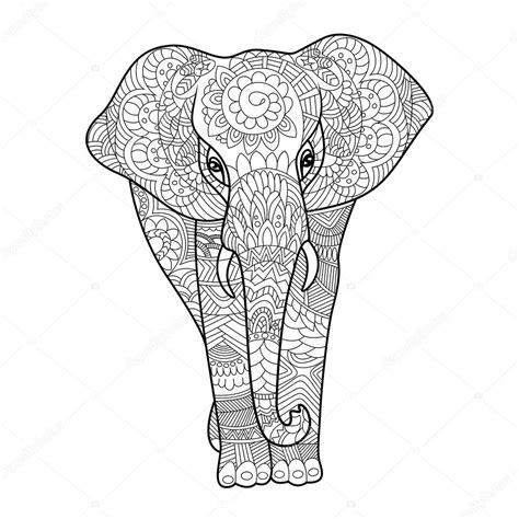 olifanten kleurplaten boek voor volwassenen vector