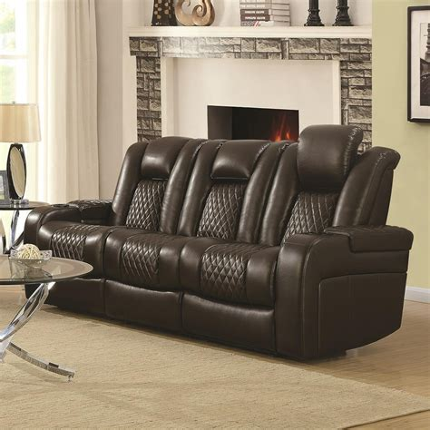 Loveseat Recliners With Console by Coaster Delangelo 602304p Casual Power Reclining Sofa With