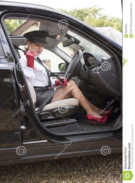 woman chauffeur  sexy legs stock image cartoondealer