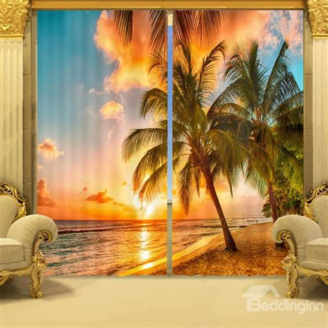 vivid coconut trees  sunset printed natural scenery