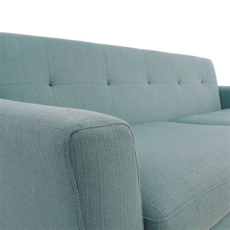 midcentury modern tufted light teal loveseat