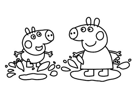 peppa pig  george playing   mud coloring page