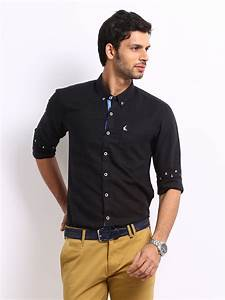 Buy Mast & Harbour Men Black Linen Blend Slim Fit Smart ...
