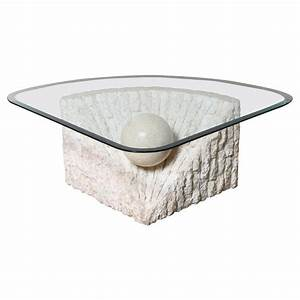 Triangular marble and travertine coffee table with beveled for Stone base glass top coffee table