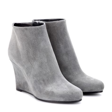 light grey booties jil sander suede wedge ankle boots in gray lyst