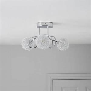 Pallas Chrome Effect 3 Lamp Ceiling Light