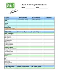 family budget template 9 free sle exle format