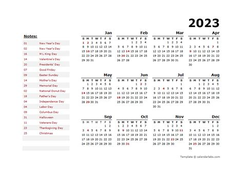 year calendar template   holidays