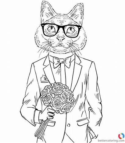 Hipster Coloring Pages Flowers Catman Printable Adults