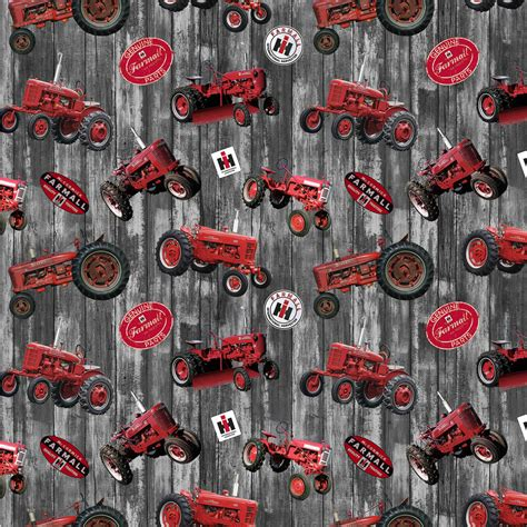 foto de Farmall Cotton Fabric with Hometown Life Tossed Tractor