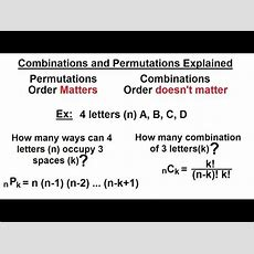 Probability & Statistics (35 Of 62) Combinations And Permutations Explained Youtube