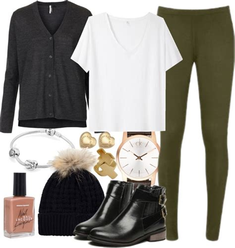U0026quot;Olive Green leggings - cold dayu0026quot; by ieleanorcalderstyle liked on Polyvore | Winter Outfit Fall ...