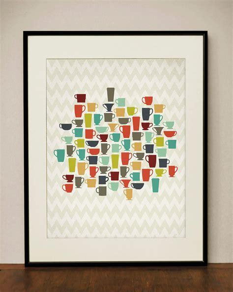 retro kitchen coffee cups  art print  projecttype