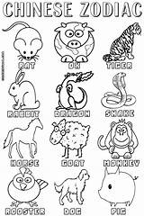 Zodiac Coloring Pages Signs Chinese Animal Print Animals Years Rat China Coloringway Worksheet Printables Dragon Kindergarten Education sketch template