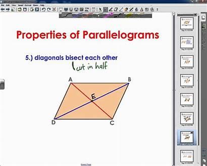 Properties Parallelograms Geometry Math Mathematics Chart Definitions