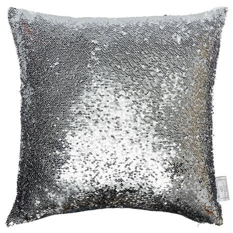 reversible sequin cushion   cm silver white