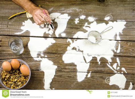 drawing maps   world  flour stock photo image