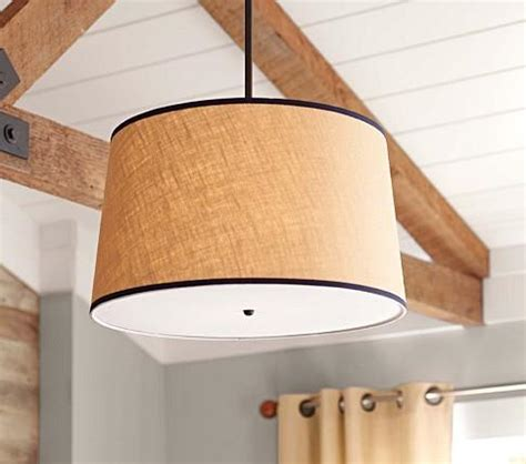 khaki navy drum flush mount light pottery barn