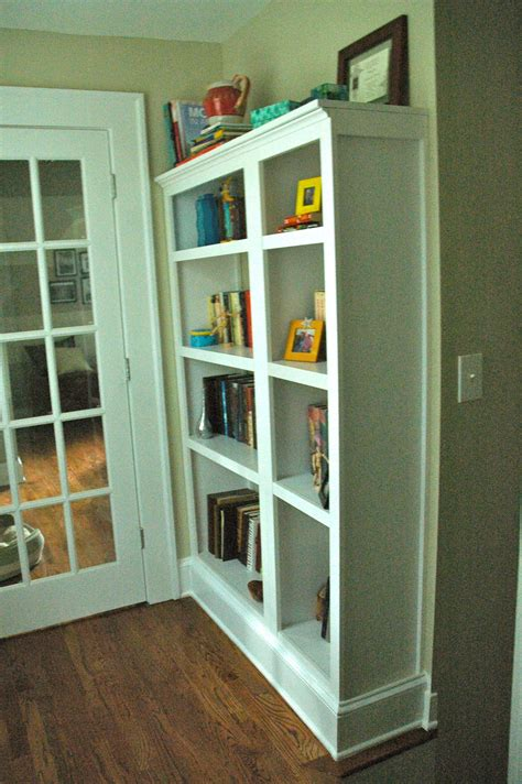 bookcases that look built in craft project fake built in bookcase