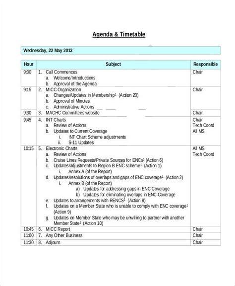 sample action agenda  sample  format
