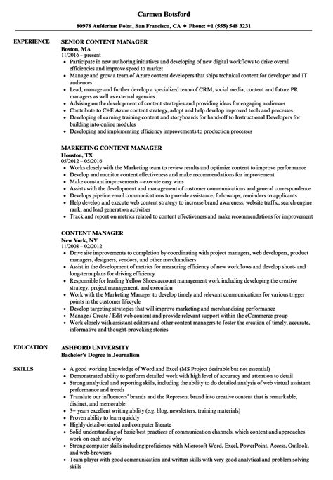 Resume Content by Content Manager Resume Sles Velvet