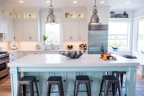 White Coastal Kitchen With Turquoise Island Waterview