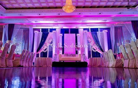 pink royal blue setup roman pillars led trees mirror