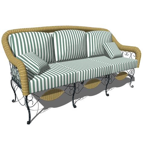 wrought iron sofa 3 seater 3d model formfonts 3d models