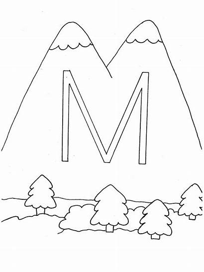 Coloring Pages Alphabet Mountains Letter Printable Mountain