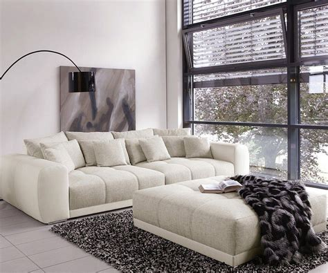 big sofa valeska 310x135 mit hocker grau cremeweiss m 246 bel sofas big sofas - Big Sofa Mit Hocker