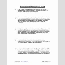 Combined Gas Law Practice Sheet Worksheet For 9th  12th Grade  Lesson Planet