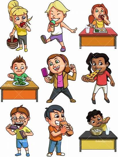 Eating Cartoon Clipart Vector Children Friendlystock Background