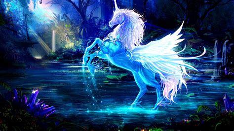 blue unicorn  wings  forest background hd unicorn