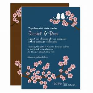cherry blossom wedding invitations announcements With navy and pink wedding invitations uk