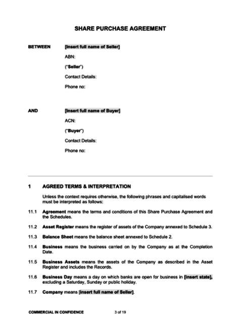 sale  shares agreement template bayard lawyers