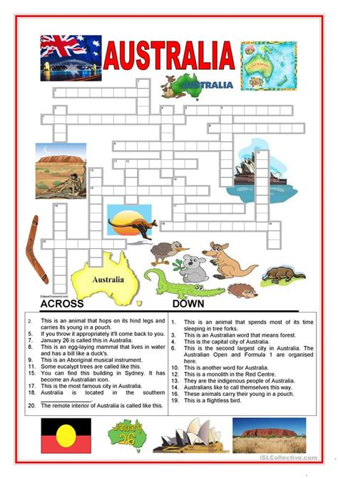 australia crossword  worksheet  esl printable