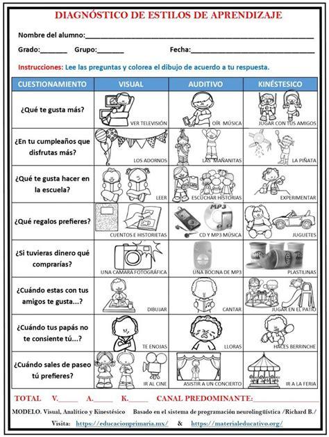 Test de diagnóstico de estilos de aprendizaje Material