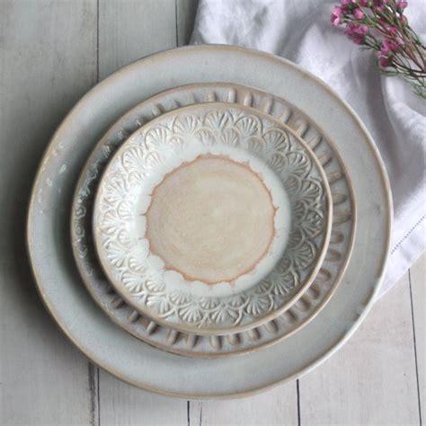dinnerware rustic usa place setting piece three glaze stoneware pottery ocher