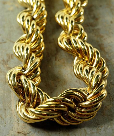 Vintage 80s Thick Gold Woven Rope Chain Collar Necklace