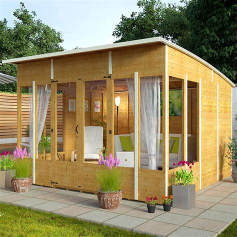 garden wooden summer house sunroom outdoor log shed cabin