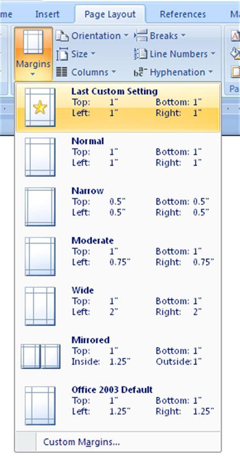 create custom margins  page setup margins style
