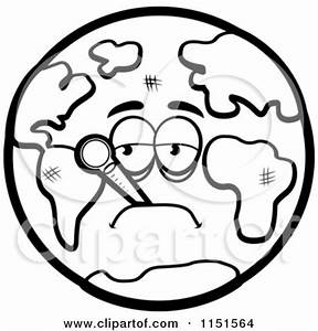 Cartoon Clipart Of A Black And White Sick Earth with a ...