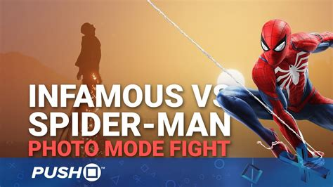 photo mode fight 1 marvel s spider man vs infamous second son ps4 youtube