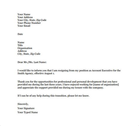 email resignation letter template   word excel