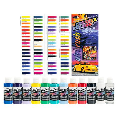 11 createx colors opaque airbrush paint kit color chart