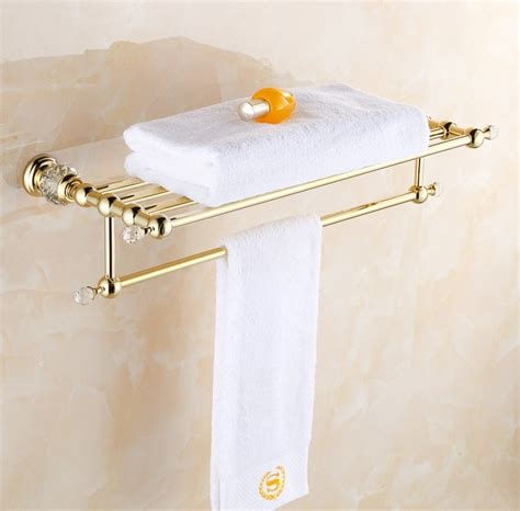 Modern Bronze Bathroom Accessories by Solid Copper Luxury Gold Plating Design Towel Rack