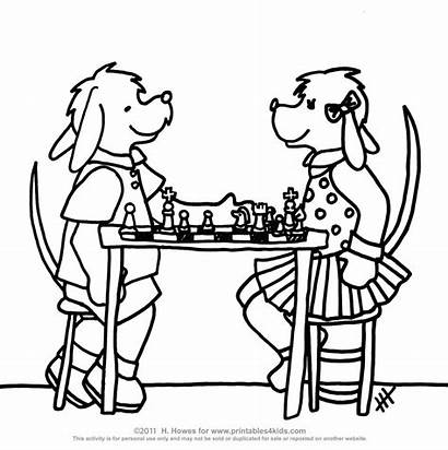 Chess Coloring Pages Playing Pieces Dogs Games