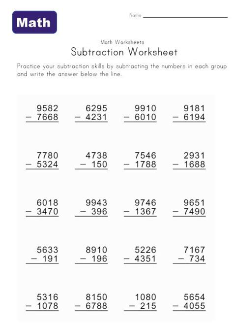 math  subtraction worksheets kids learning station