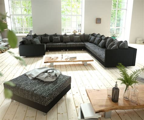 Großes Sofa Günstig by Wohnlandschaft Clovis Schwarz Modulsofa Mit Hocker Sofa